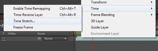 enabling Time Stretch for a layer in After Effects