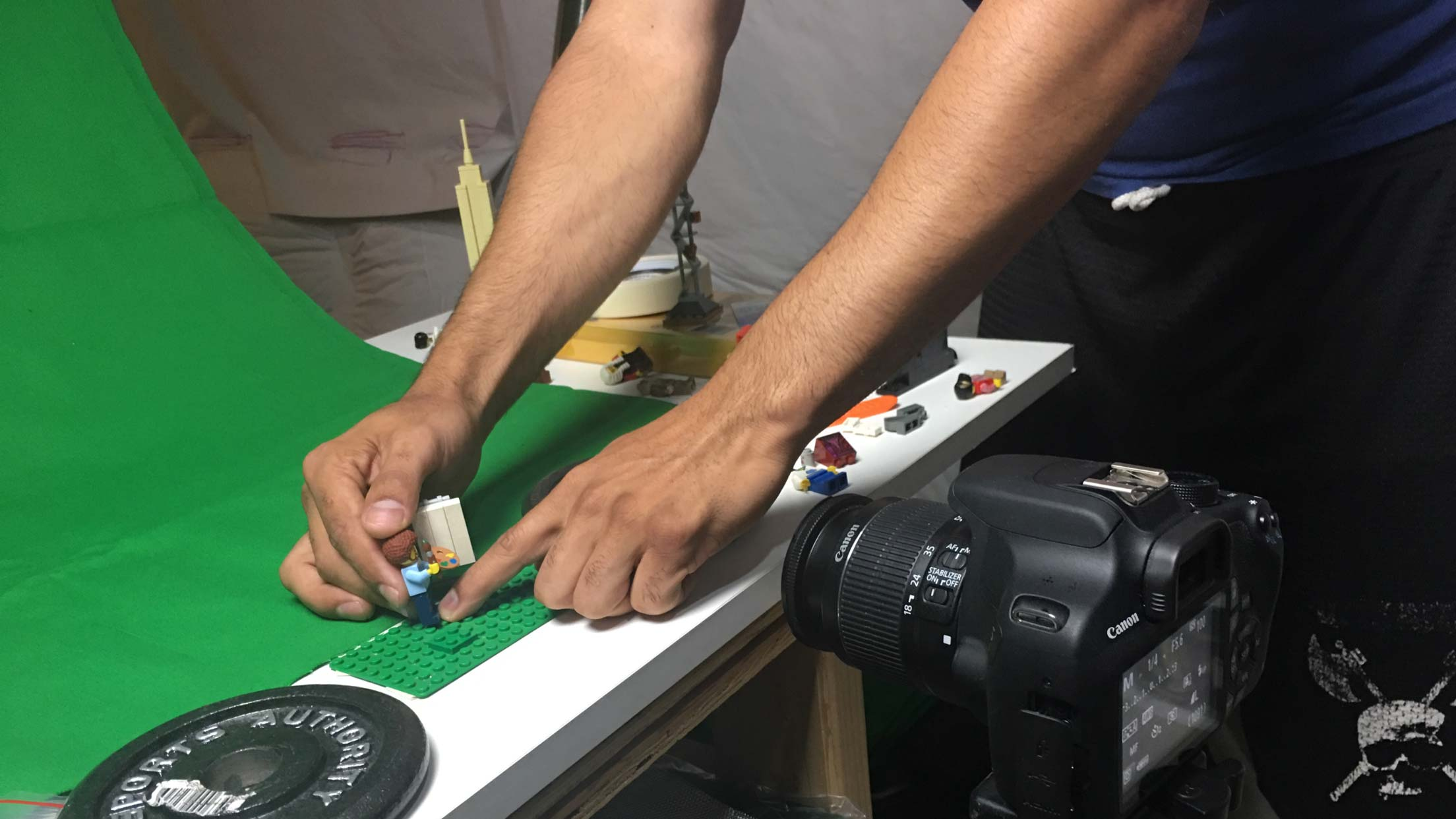 shooting the Bob Ross LEGO movie